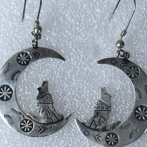 WOLF HOWLING AT THE MOON STERLING SILVER EARRINGS